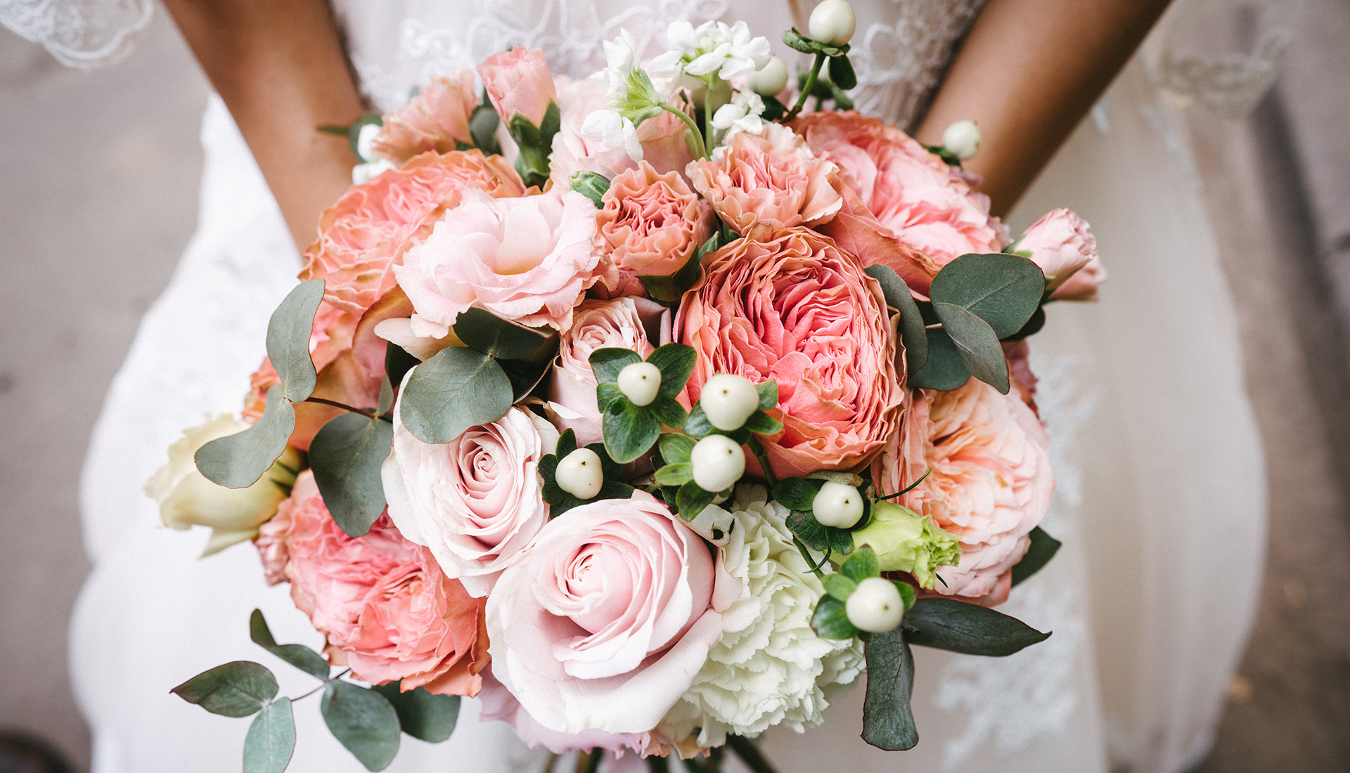 Stunning bridal bouquet. Wedding ceremony. Mix of peony, succulents, orchids and roses. Modern bridal accessories. Wedding flowers
