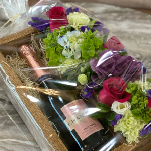 Custom handmade floral arrangement with box