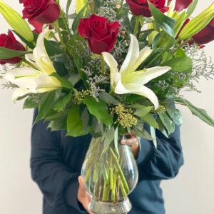 Valentine's Day dozen roses lilies